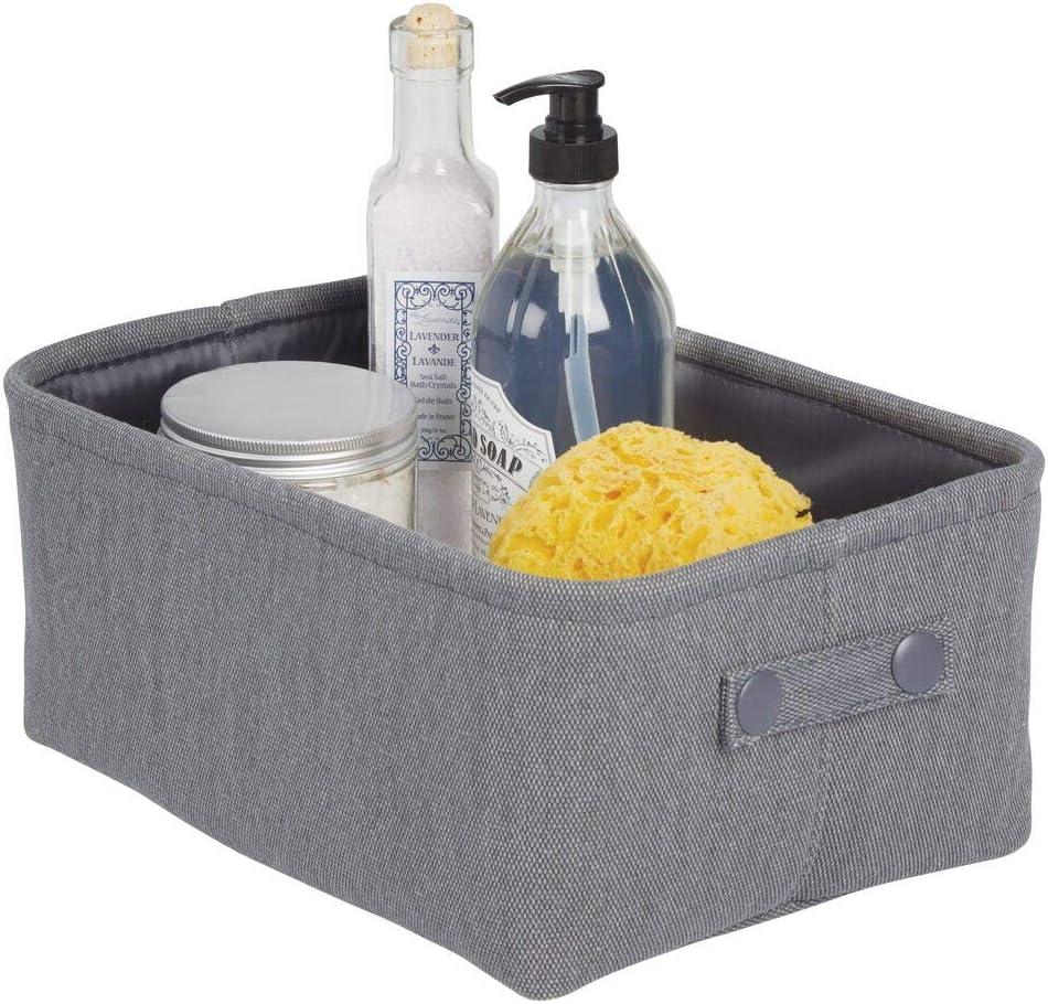mDesign Aufbewahrungskorb mit Innenbeschichtung und Strukturdesign ideal zur Kosmetikaufbewahrung praktischer Badezimmer Organizer aus Baumwolle mit Henkeln hellgrau