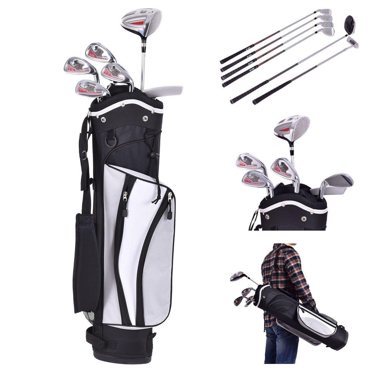 6 pcs Kids Wood Iron Putter Golf Club Set w/ Stand Bag - Silver by Apontus