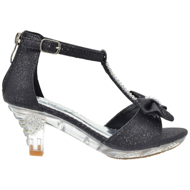 bab53d87cff Generation Y Kids Dress Sandals T-Strap Rhinestone Glitter Clear High Heel  Shoes