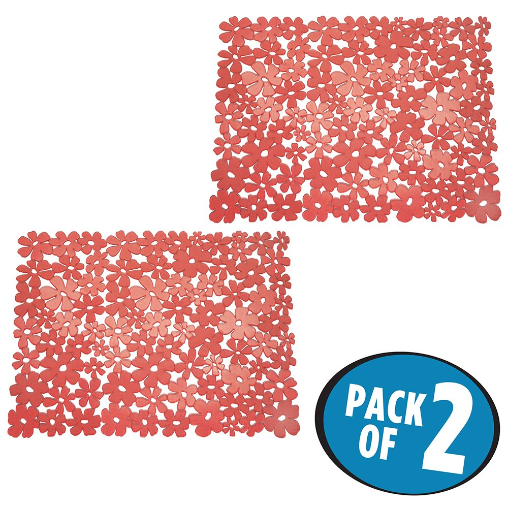 mDesign tappetino per lavandini grande – Il perfetto tappetino per il vostro lavello della cucina e del bagno – ora in comoda confezione doppia – Colore: rosso MetroDecor