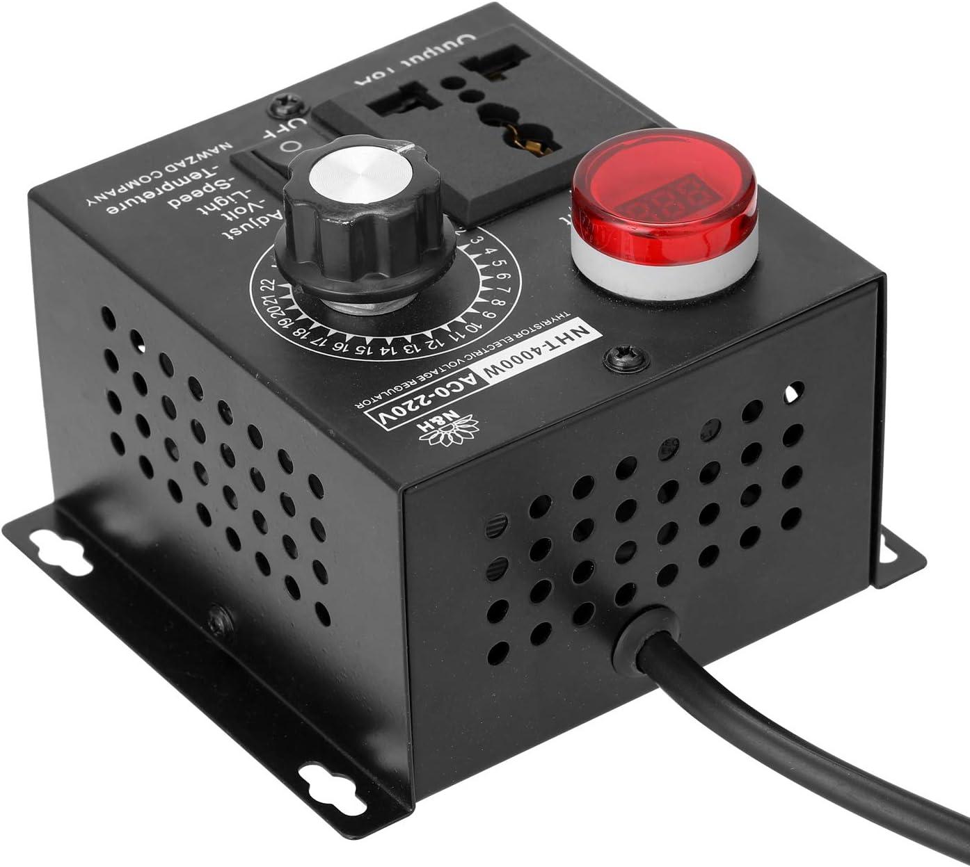 AC 220V 4000W Contr/ôleur Variable De Tension Contr/ôleur Portable Vitesse Temp/érature L/éger Tension Variateur Adjuatable