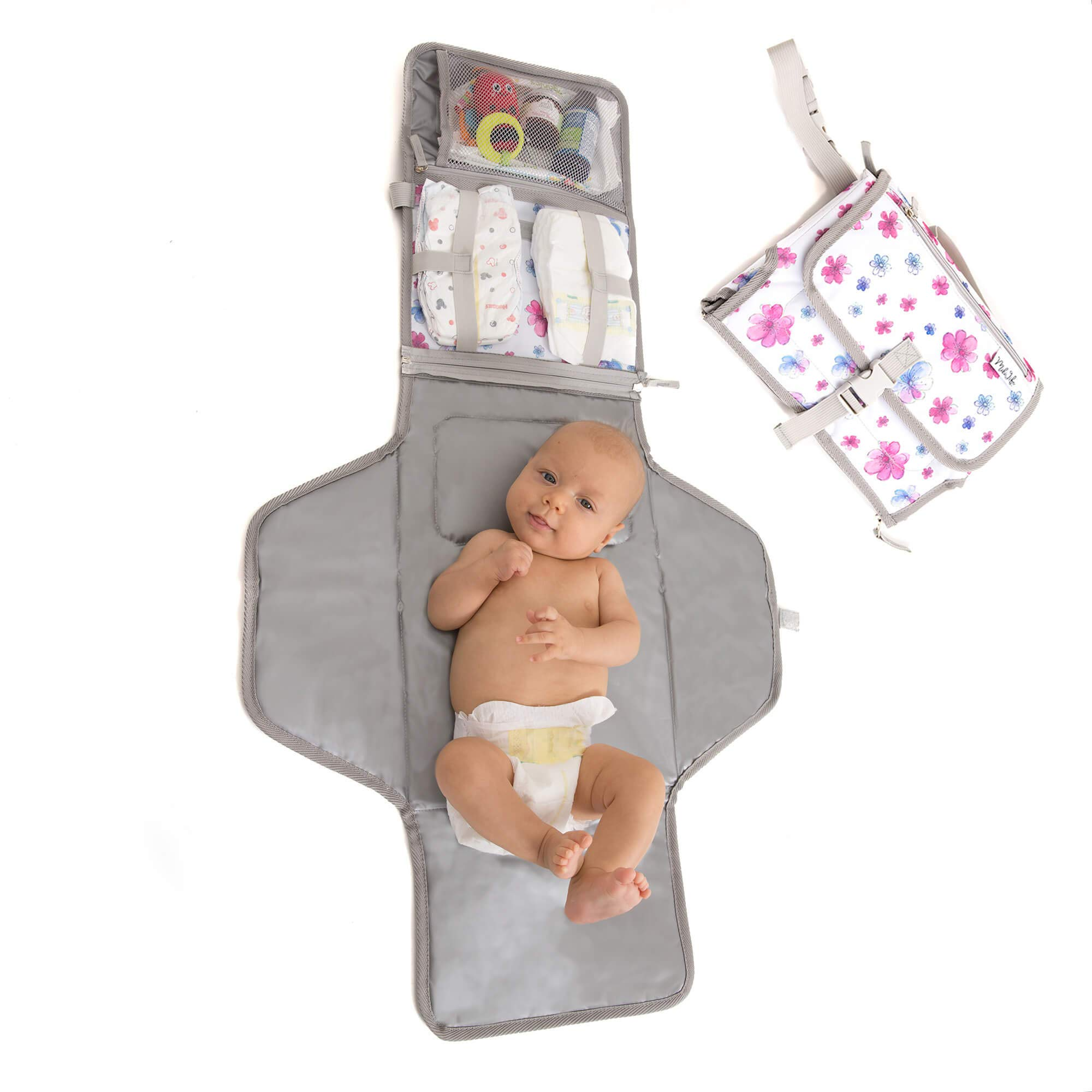 Baby Portable Changing Pad | Lightweight Travel Diaper Station Kit with Waterproof and Cushioned Pad | Foldable Pad with Pockets | Changing Organizer Bag for Toddlers Infants & Newborns | White by MikiLife