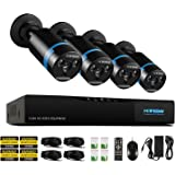 H.View Home Security HD 1080P PoE NVR CCTV Security System ,4x1080P Weatherproof Outdoor Bullet IP Cameras,High Quality CCTV Kits Home Surveillance Enhance Night Vision System(NO HDD)