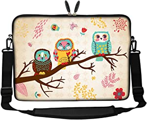 Meffort Inc 17 17.3 inch Neoprene Laptop Sleeve Bag Carrying Case with Hidden Handle and Adjustable Shoulder Strap - Three Owls