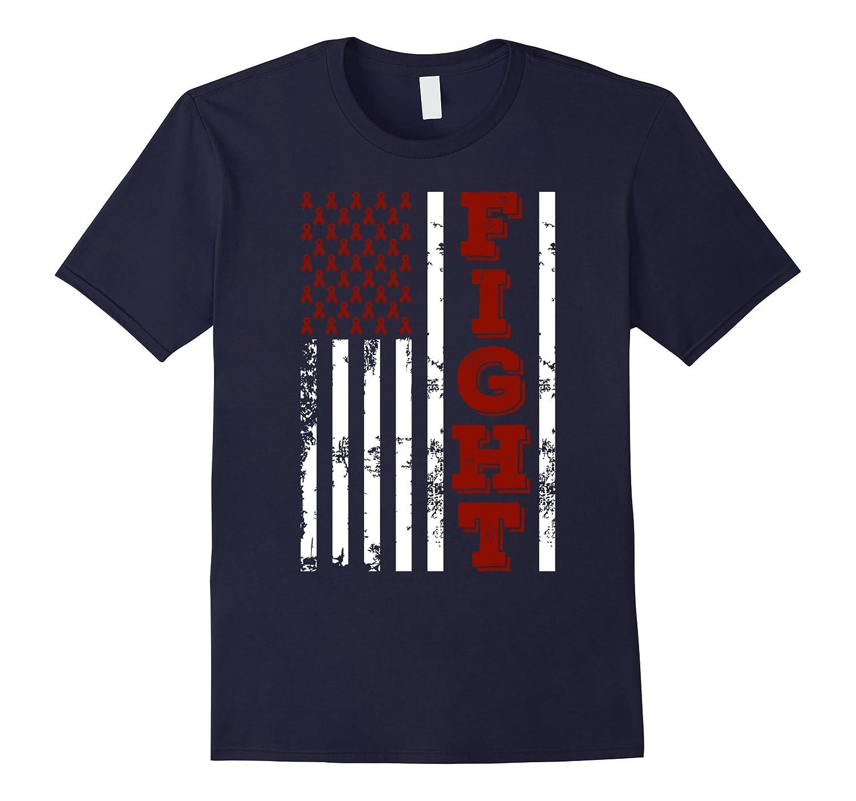 American Flag Fight Throat Cancer Awareness T Shirt-CL
