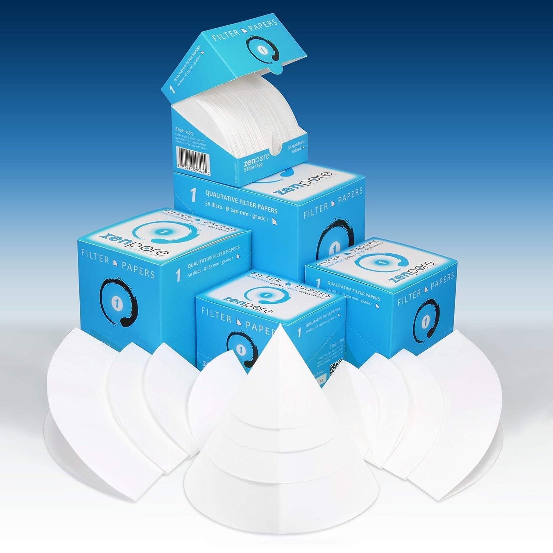 ZENPORE Fast Flow 150 mm 50 Discs Cones 15 cm Quadrant-Folded Filter Paper Qualitative Grade 4 Pre-Folded