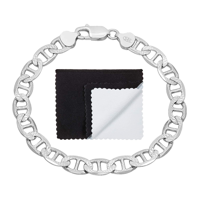 925 Sterling Silver Italian Crafted 6.3mm Diamond-Cut Mariner Link Bracelet, 7'' + Bonus Polishing Cloth