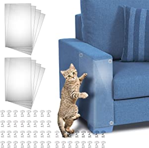 Cat Furniture Protector, 8 Pack 17.8 x 12 Inch Self-Adhesive Cat Scratch Furniture Protector with 48 Twist Pins, Furniture Protection from Cat Scratching Cover to Protect Sofa, Door, Wall and Seat