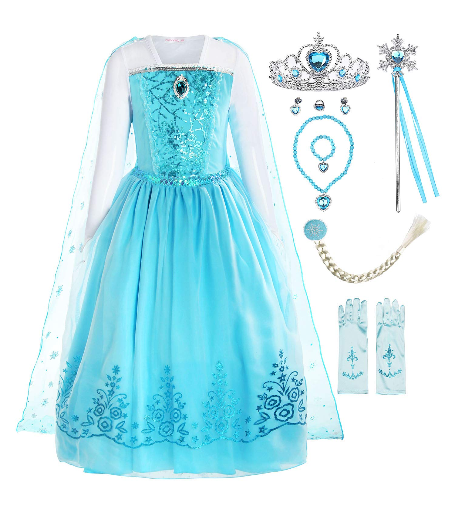 ReliBeauty Girls Sequin Princess Costume Long Sleeve Dress up with Accessories, Light Blue, 5