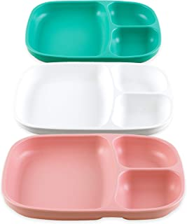 product image for Re-Play Set of 3 - Made in The USA Deep Divided Heavy Duty Dining Plates with 3 Compartments for All Ages - Aqua, Blush, White (Fresh)