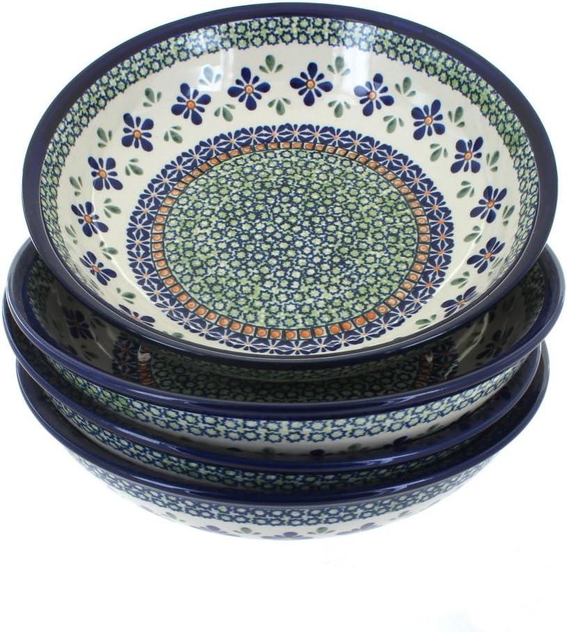 Blue Rose Polish Pottery Mosaic Flower 4 Piece Large Salad Bowl Set