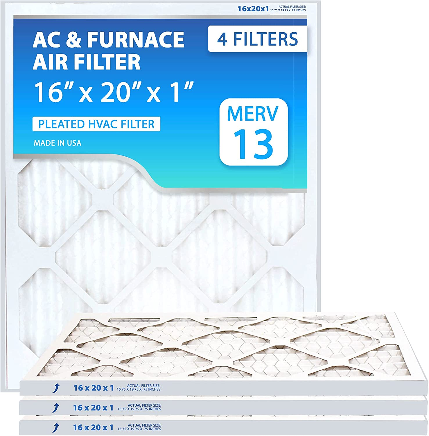 (4 PACK) MERV 13 Air Purifying HVAC filters: 16x20x1 Air Filter (MPR 1500-1900, FPR 10). Furnace Filters 16x20x1 Vent Replacement Filter, Clean Air Dust Filters, Made In America