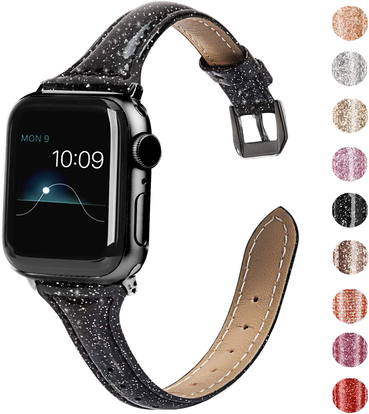 Wearlizer Black Thin Leather Compatible with Apple Watch Slim Bands 38mm 40mm for iWatch SE Womens Mens Strap Classic Wristband Slim Replacement (Stainless Steel Black Clasp) Series 6 5 4 3 2 1 Sport