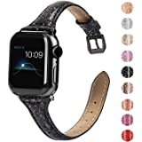Wearlizer Black Thin Leather Compatible with Apple Watch Slim Bands 38mm 40mm for iWatch SE Womens Mens Strap Classic…