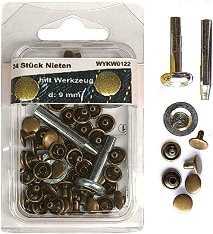 Set 100 Stück Hohlnieten Nieten Ziernieten 11 mm mit Werkzeug und Locheisen