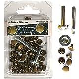24 Stück Nieten 9 mm altmessing mit Werkzeug (Hohlnieten) im SB Blister, 0122