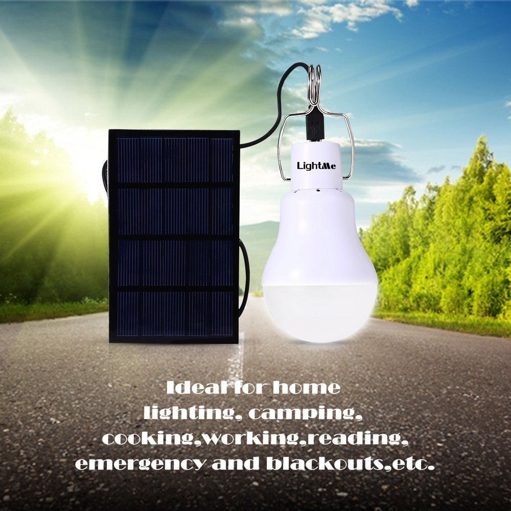 LightMe Solar Light Bulb Portable 140LM Solar Powered Led Bulb Lights Outdoor Solar Energy Lamp Lighting for Home Fishing Camping Emergency Tent Shed Chicken Coop HYZ