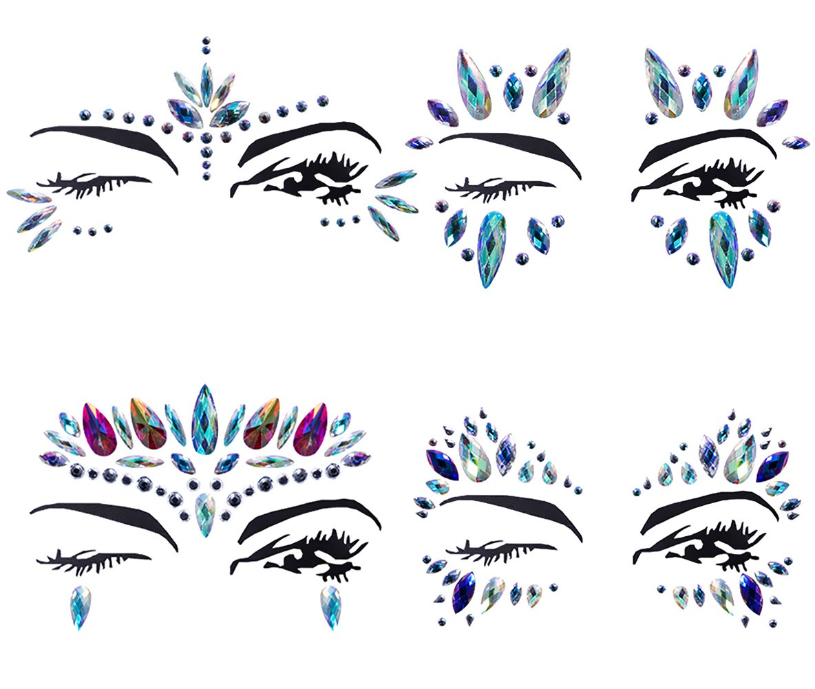 YHMALL 4 Sets Mermaid Face Gems Rhinestone Tattoo Festival Jewels Eyes Face Body Temporary Tattoos Glitter Temporary Tattoo Bindi Crystals Rainbow Tears Stickers