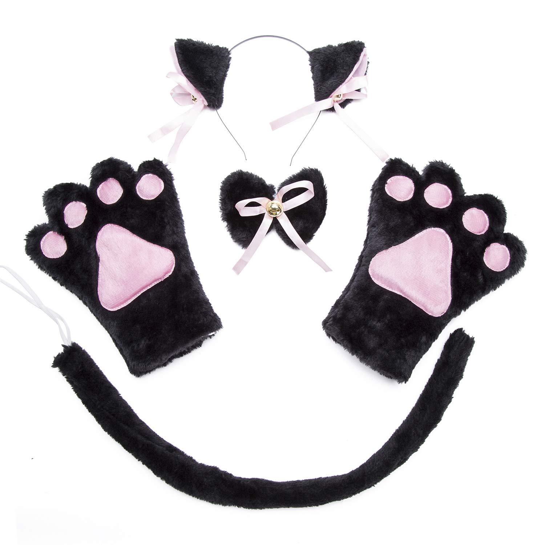 Cat Cosplay Costume - 4Pcs Kids Cosplay Cat Kitten Tail Ears Set Collar Paws Gloves Lolita Gothic Halloween