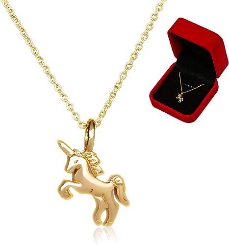 MOCAL Unicorn Necklace,Beautiful Rainbow Unicorn Pendant Necklace for Women Girls
