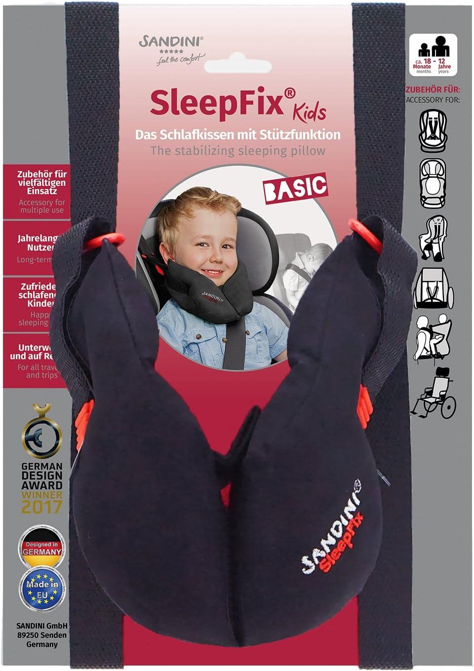 SANDINI SleepFix® Kids BASIC – Cojín infantil con función - Accesorios de asiento infantil para coche/bicicleta/viaje - Evita que la cabeza de su hijo caiga mientras duerme