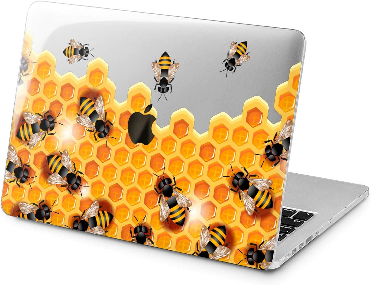 """Cavka Hard Shell Case for Apple MacBook Pro 13"""" 2019 15"""" 2018 Air 13"""" 2020 Retina 2015 Mac 11"""" Mac 12"""" Honey Bee Protective Cute Yellow Cover Insect Print Laptop Sweet Hexagon Pattern Plastic Design"""