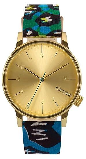 Komono dorado para hombre reloj infantil de cuarzo con esfera analógica y correa de piel KOM