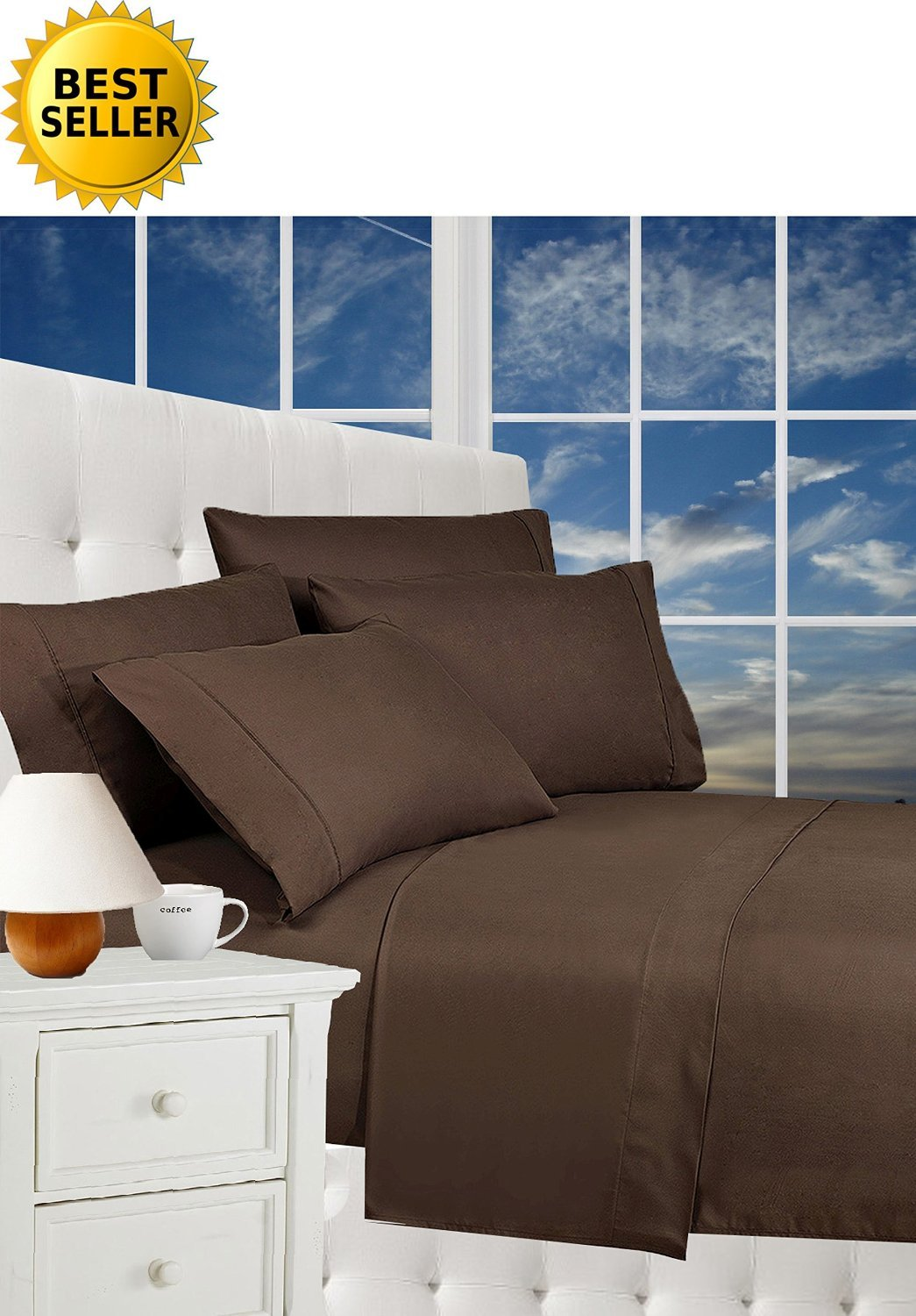 3-Piece Duvet Set 100% HypoAllergenic, King/California King - Chocolate Brown