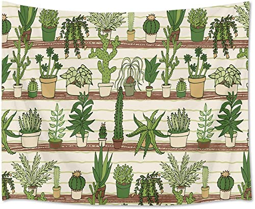 HVEST Cactus Tapestry Tropical Desert Succulent Plants on Wood Shelf Wall Hanging Blanket Watercolor Botanical Tapestries for Bedroom Living Room Dorm Decor,92.5Wx70.9H inches