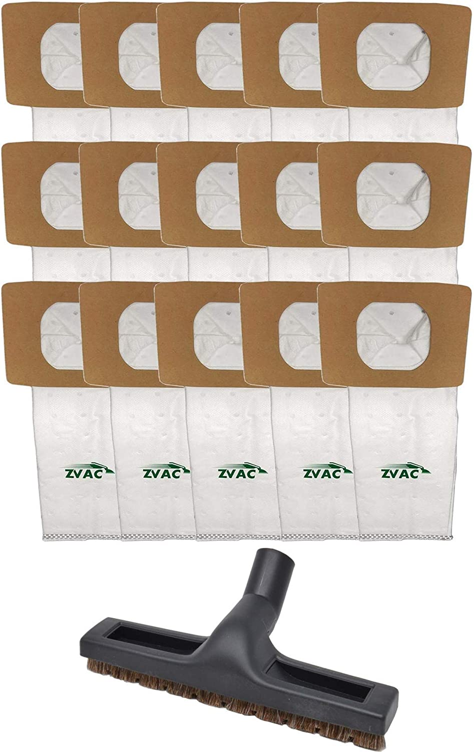 ZVac Hoover Replacement Vacuum Cleaner Bags - 15pc Cleaning Accessories - Works with Platinum Upright and Canister Types - High Performance Multi-Layer Filtration with 1 & 1/4 inches Floor Brush