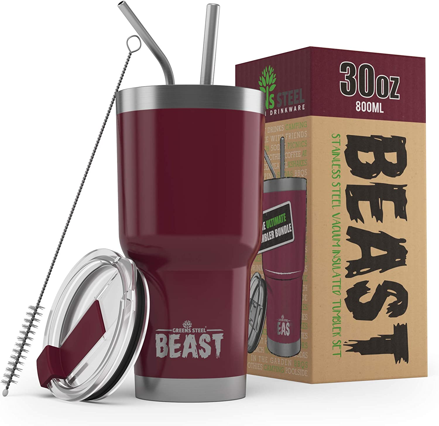 BEAST 30oz Cranberry Tumbler - Stainless Steel Vacuum Insulated Coffee Ice Cup Double Wall Travel Flask
