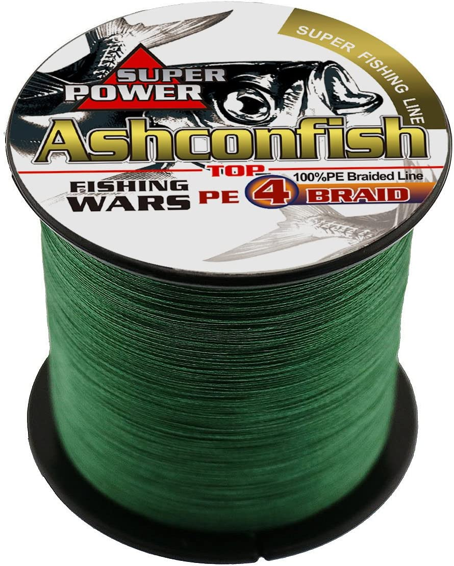 Ashconfish Super Strong Braided Fishing Line-4 Strands PE Fishing Wire 1000M 1093Yards Fishing String-Abrasion Resistant Incredible Superline Zero Stretch Small Diameter