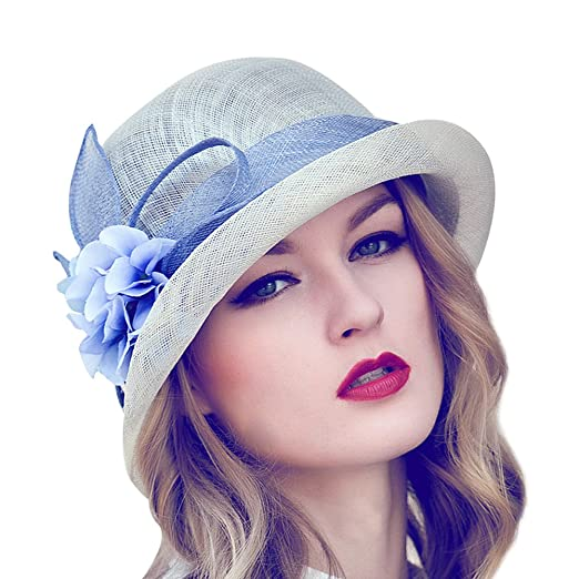 4cb60f57bc0 Image Unavailable. Image not available for. Color  Women s Kentucky Derby  Hat Race Wedding Hats with Flower Accent
