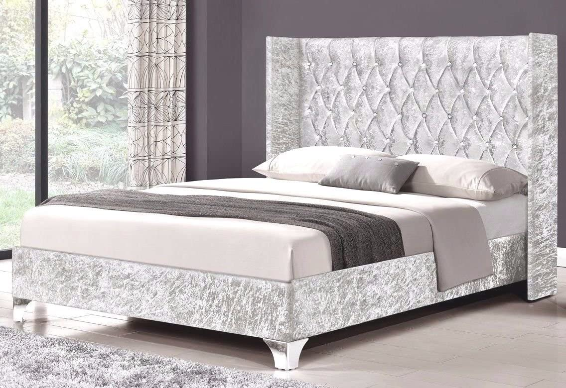 CHESTERFIELD BED SLEIGH STYLE CRUSHED VELVET DIAMANTE BED ...