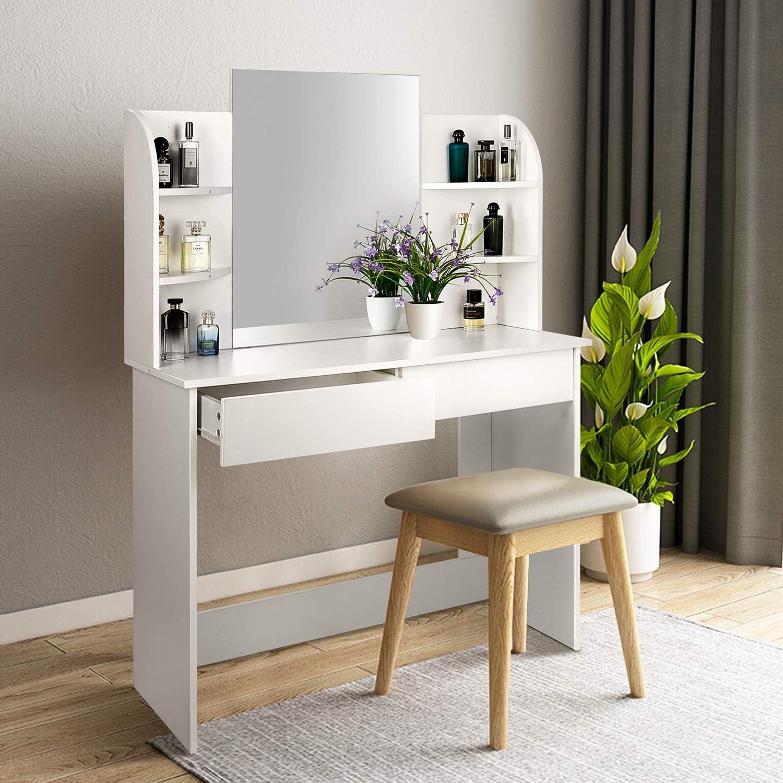 amzdeal Coiffeuse Table de Maquillage avec Grand Miroir Grande Coiffeuse Moderne avec 2 Tiroirs et 6 /Étag/ères Blanc 108x140x40cm