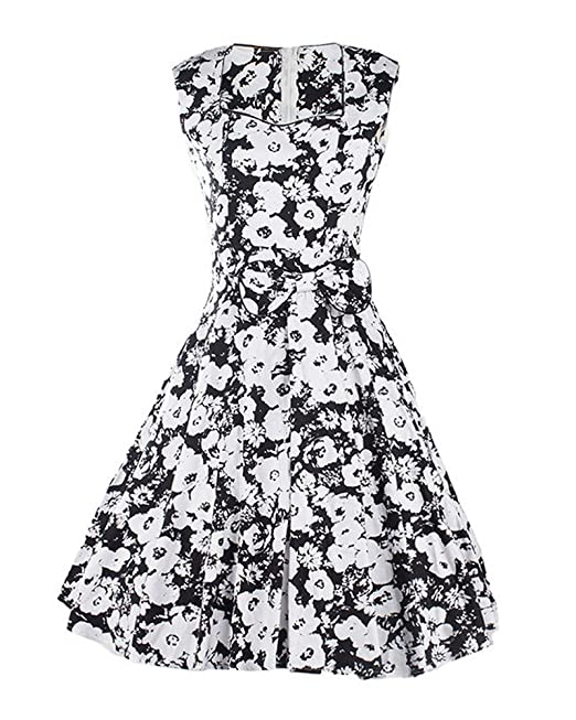 SaiDeng Mujer Vintage Vestido De Cóctel De Flores De Pin Up Vestido Cabestrillo La Rodilla XXL