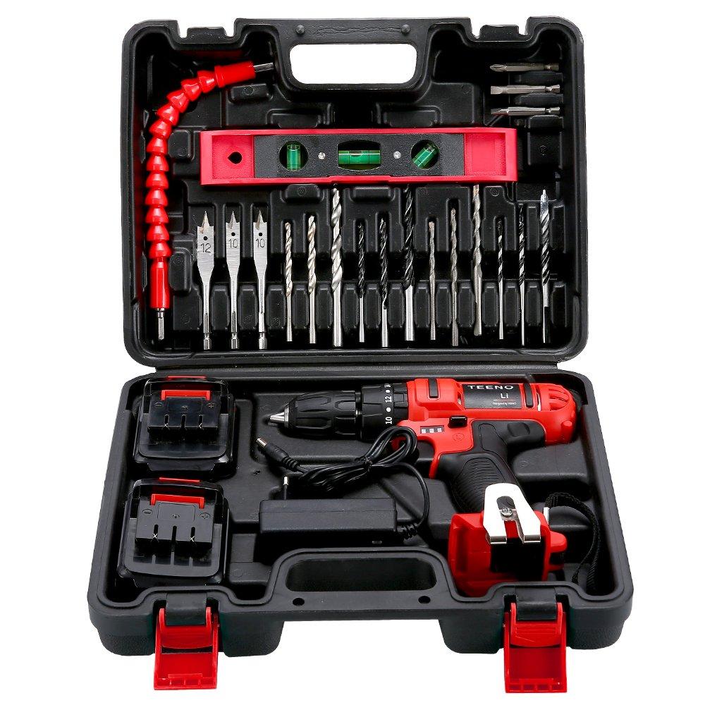 TEENO Perceuse visseuse a percussion sans fil PSR 21V+2 Vitesses 20 accessoires 2 batteries lithium gants professionnels
