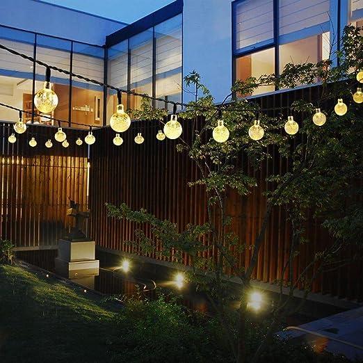 Nesix - Guirnalda de luces solares con bombillas transparentes, funciona con energía solar, 30 luces LED, luces