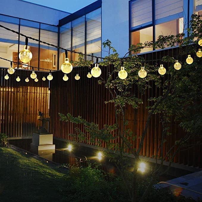 Nesix - Guirnalda de luces solares con bombillas transparentes ...