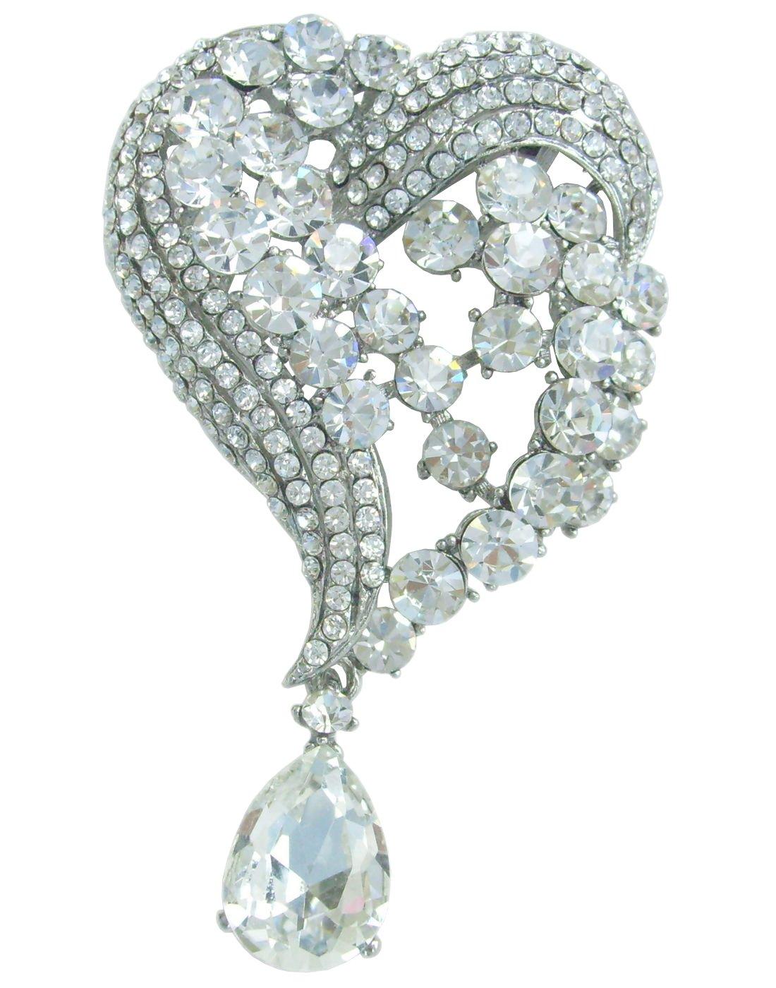 Sindary Wedding 3.15'' Silver-tone Clear Rhinestone Crystal Love Heart Brooch Pin Pendant