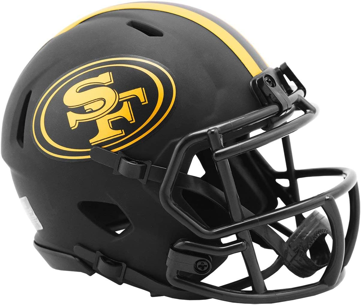Amazon Com Riddell San Francisco 49ers 2020 Black Revolution Speed Mini Football Helmet Sports Outdoors