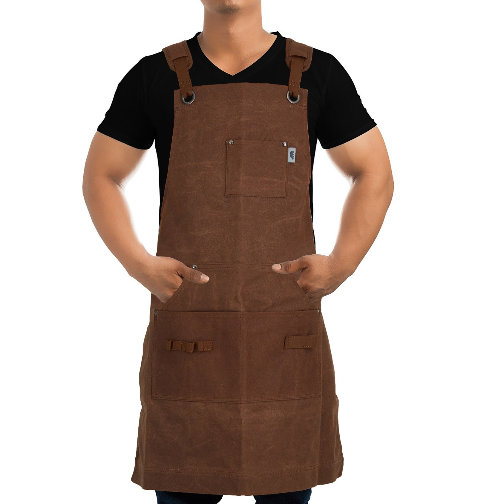 Heavy-Duty Waxed-Canvas Work Apron for Men and Women withPockets for ToolsCross-Back Straps – Adjustable from M to XXL (Brown)