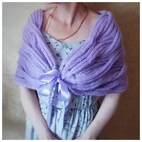 Mohair scarf and Hat Lace Wrap  Hand knit Scarf Purple Stole Bridal Shrug Women cover up Wedding accessory Bridesmaid cape Christmas gift