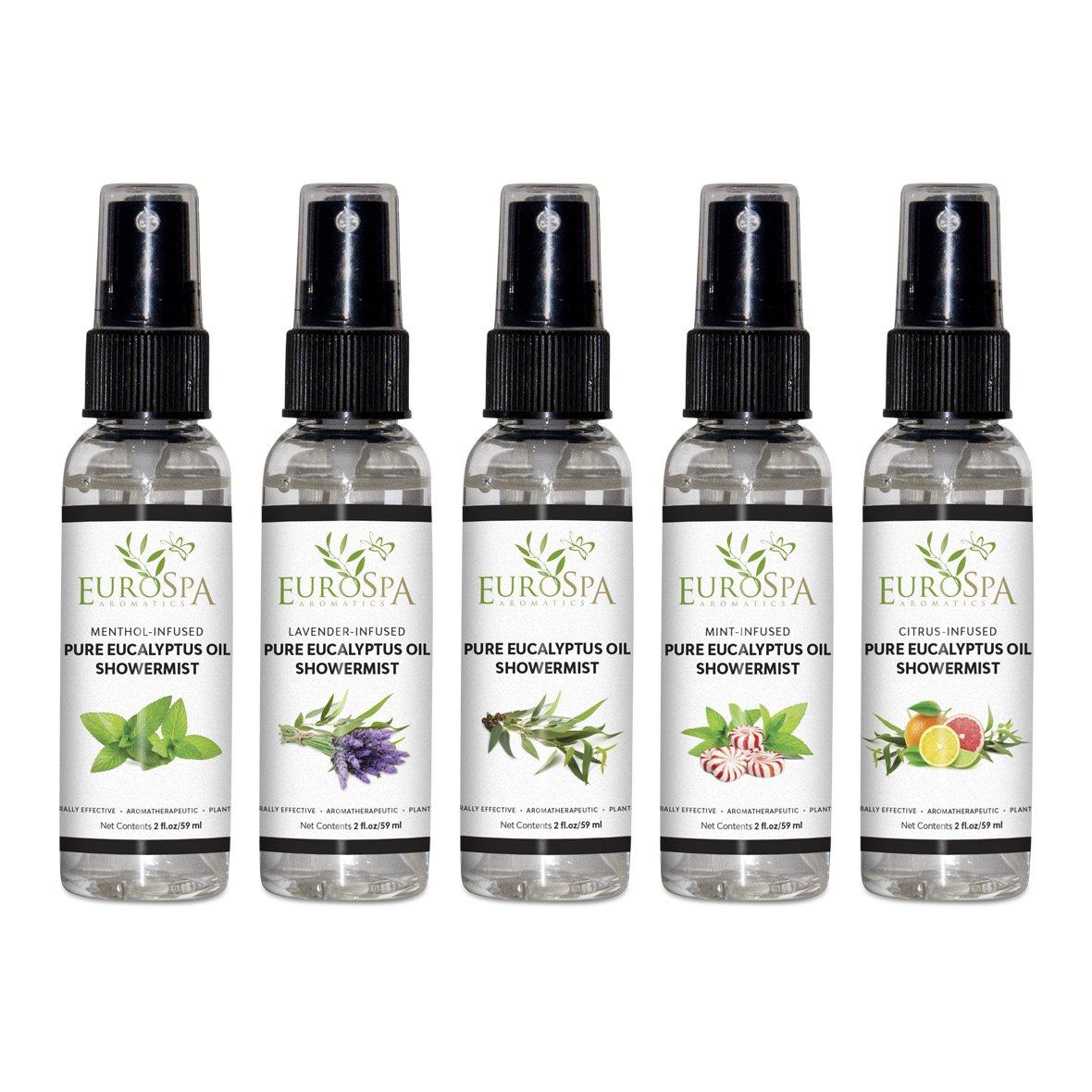 EuroSpa Aromatics Pure Eucalyptus Oil ShowerMist and Steam Room Spray, All-Natural Premium Aromatherapy Essential Oils - Variety 5 Pack - 2 oz Each by EuroSpa Aromatics