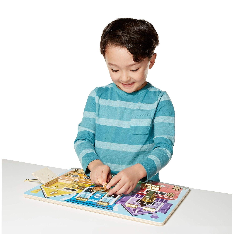 Melissa /& Doug Wooden Latches Board Developmental Toy, Sturdy Wooden Construction, Helps Develop Fine Motor Skills, 15.5 H x 11.5 W x 1.25 L