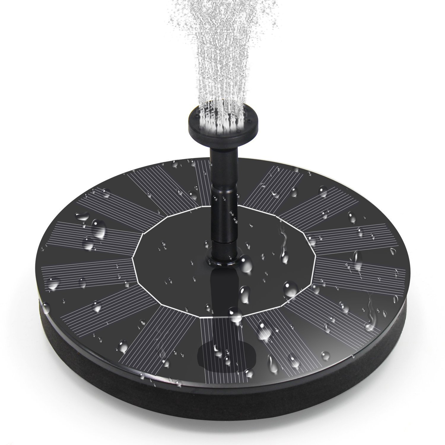 BOBOO Solar Fountain Pump,Free Standing Solar Powered Bird Bath Fountain Water Pump,1.4W Solar Outdoor Floating Fountain Pump Kit,for Garden, Pool, Pond, Patio Ideal Decoration (Black)