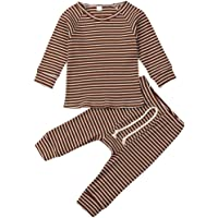 zhipengou Infant Kids Clothing Baby Boys Girls Cute Stripe Long Sleeve Pajamas Set Sleepwear Nightwear Outfits Clothes