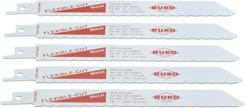 Ruko 33189065 Pack de 5 Sierras de Sable bimetal con vástago Universal 1/2
