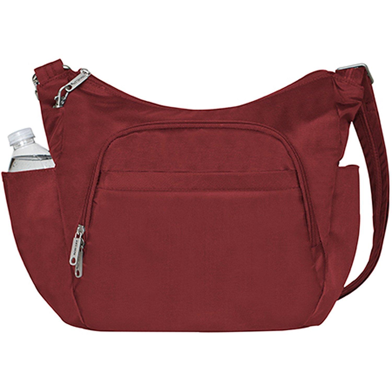Travelon Anti-Theft Cross-Body Bucket Bag, Cranberry, One Size