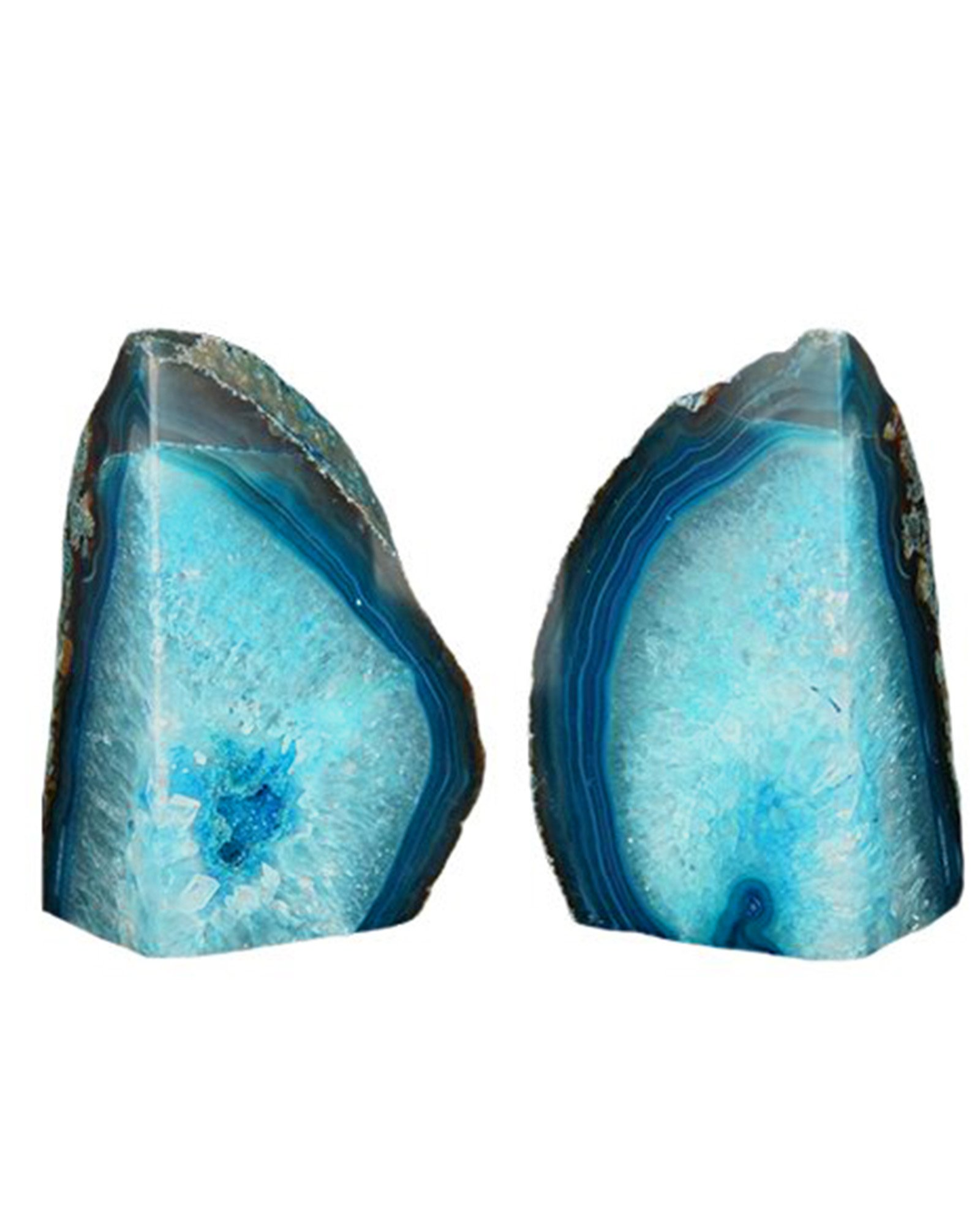 AMOYSTONE Dyed Teal/Aqua Agate Bookends Pair 4-6 lbs Study Room Office Books Rack